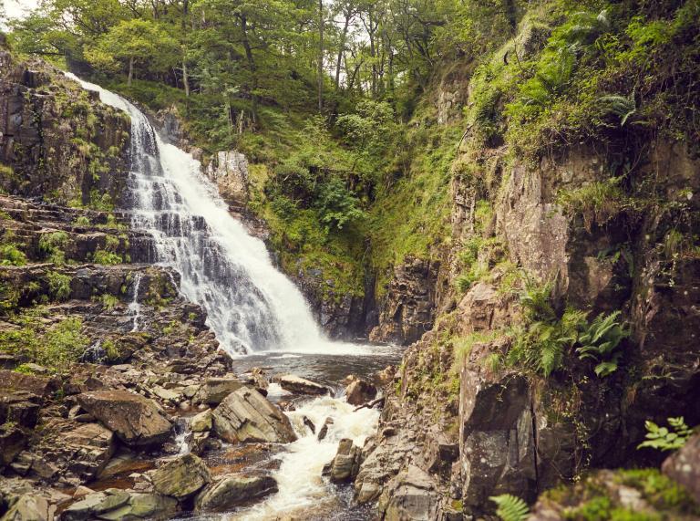 Waterfall and surrounding rocks and greenery.