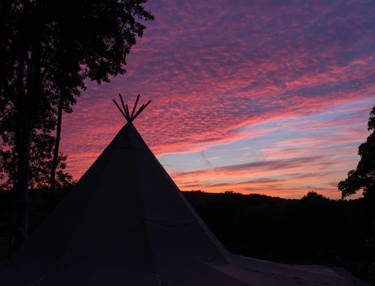 Fforest Farm Tipi at sunset.