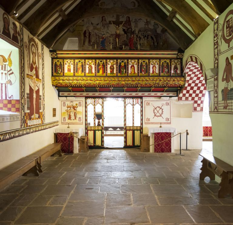 Colourful interior of St Teilo's Church.